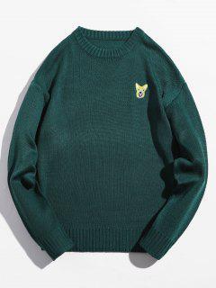 Suéter Bordado Animal Suéter De Cuello Redondo - Mar Verde Mediana M