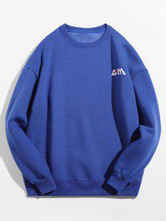 Solid Color Pullover Crew Neck Sweatshirt - Blue M