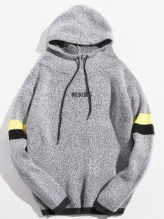 Embroidery Letter Long Sleeve Hoodie - Light Gray 2xl