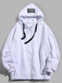 Letter Printing Fleece Hooded Jacket - White M