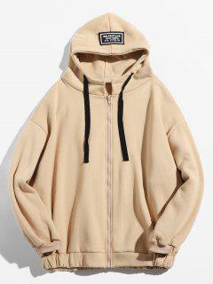 Letter Printing Fleece Hooded Jacket - Blanched Almond Xl