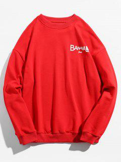 Letters Printed Pullover Crew Neck Sweatshirt - Red S