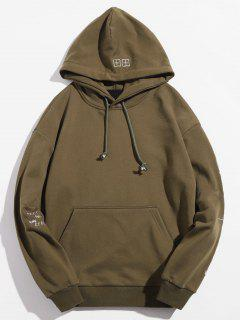 Embroidered Letter Casual Hoodie - Khaki M