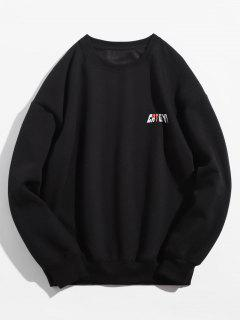 Solid Color Pullover Crew Neck Sweatshirt - Black L