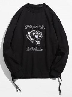 Leopard Letter Embroidered Zipper Hem Sweatshirt - Black M