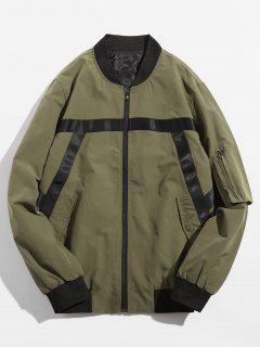 Stripe Splicing Contrast Bomber Jacket - Army Green S