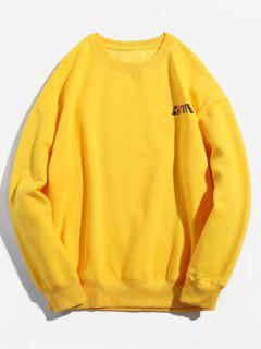 Solid Color Pullover Crew Neck Sweatshirt - Mustard M
