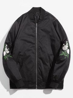 Rose Embroidered Lined Bomber Jacket - Black M