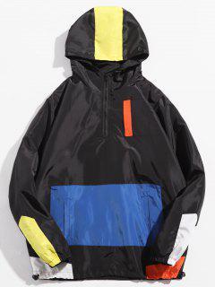 Half Zip Hooded Panel Jacket - Black Xl