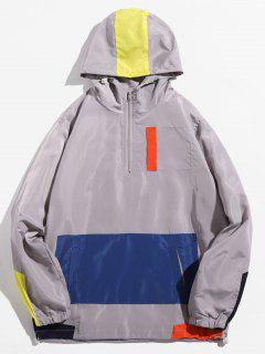 Half Zip Hooded Panel Jacket - Ash Gray L