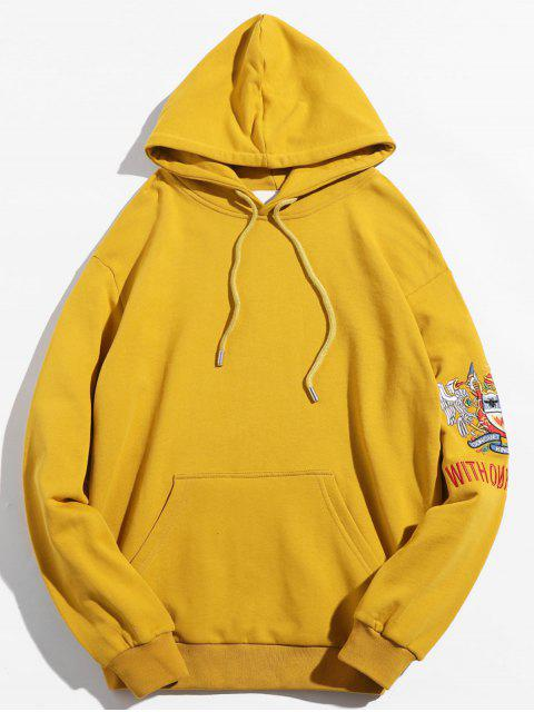 chic Sleeve Badge Embroidered Graphic Hoodie - SUN YELLOW M Mobile
