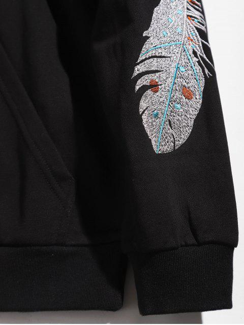 ladies Sleeve Feather Embroidered Hoodie - BLACK XS Mobile