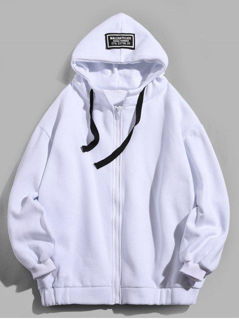 lady Letter Printing Fleece Hooded Jacket - WHITE M Mobile