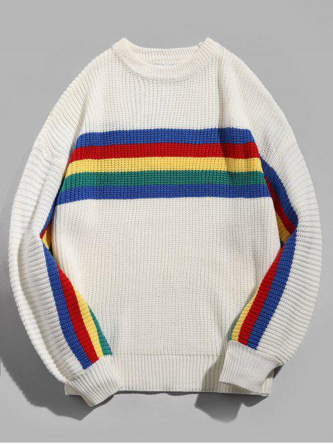 Chandail Pull-over Rayé en Arc-en-ciel Coloré - Blanc XL Mobile
