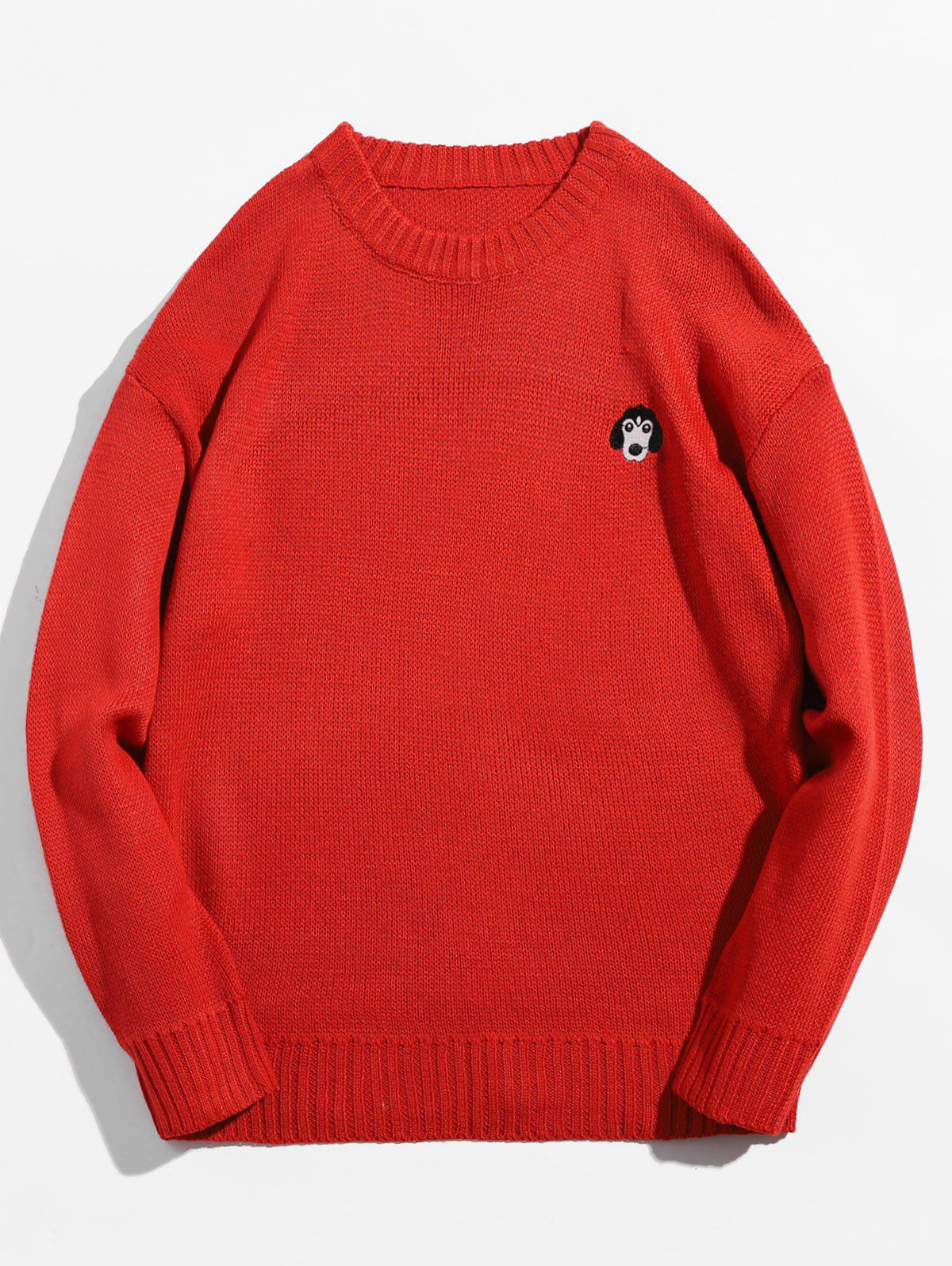 Animal Embroidery Pullover Crew Neck Sweater
