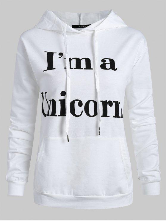 buy Unicorn Letter Graphic Drawstring Hoodie - WHITE M