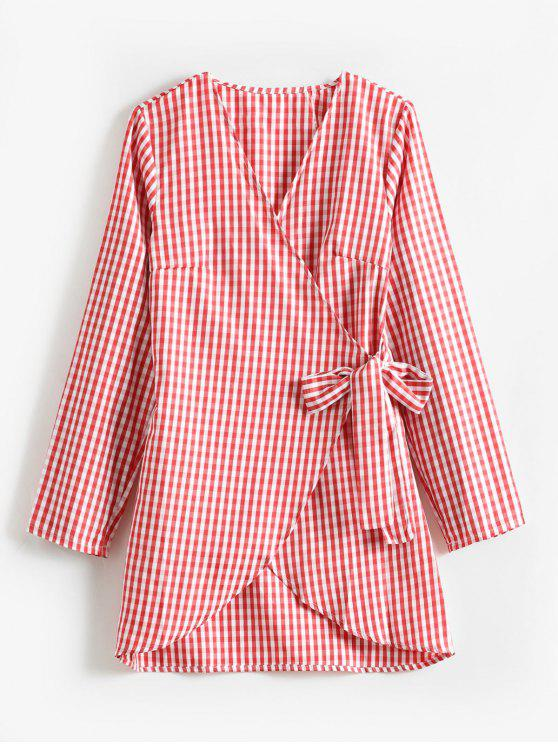 buy Wrap Gingham Tunic Blouse - RED M