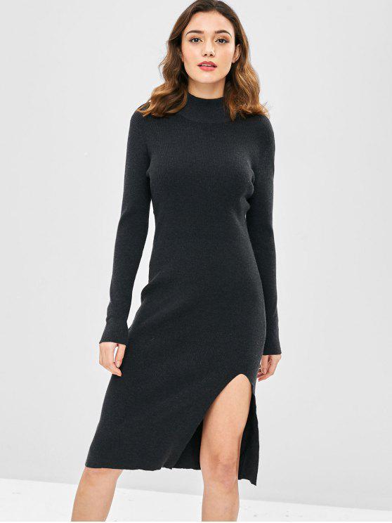 unique Mock Neck Slit Sweater Dress - DARK SLATE GREY ONE SIZE