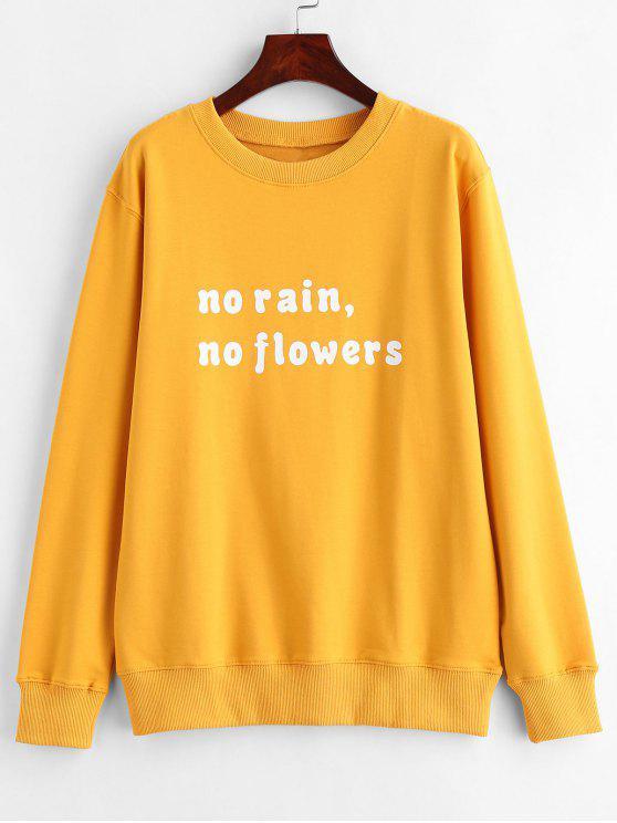 fashion Text Print Pullover Graphic Sweatshirt - MUSTARD 2XL