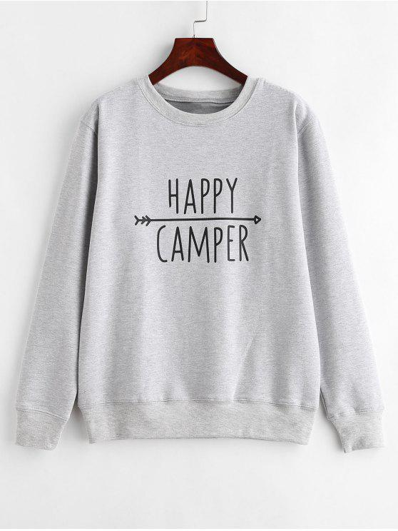 buy Pullover Contrasting  Graphic Sweatshirt - LIGHT GRAY L