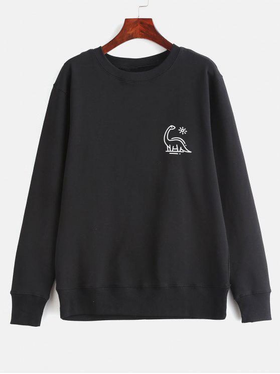 online Animal Print Graphic Pullover Sweatshirt - BLACK M