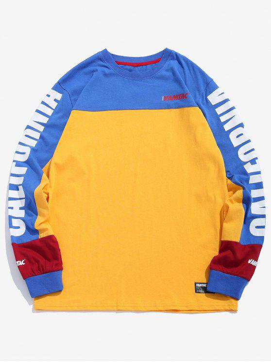 outfit Graphic Color Block Sweatshirt - RUBBER DUCKY YELLOW XL