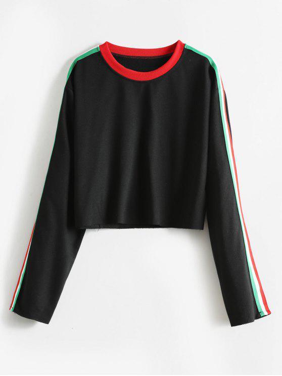Sweat-shirt Contrasté Rayé à Brodure Brut - Noir L