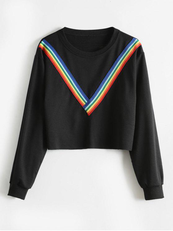 Sweat-shirt à Ourlet Brut en Arc-en-ciel - Noir XL