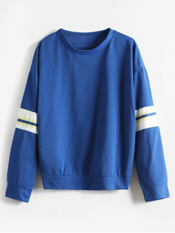 Sweat-shirt contrastant à épaules dégagées - Bleu S