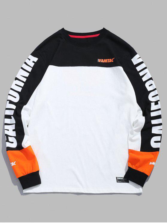 chic Graphic Color Block Sweatshirt - WHITE XL