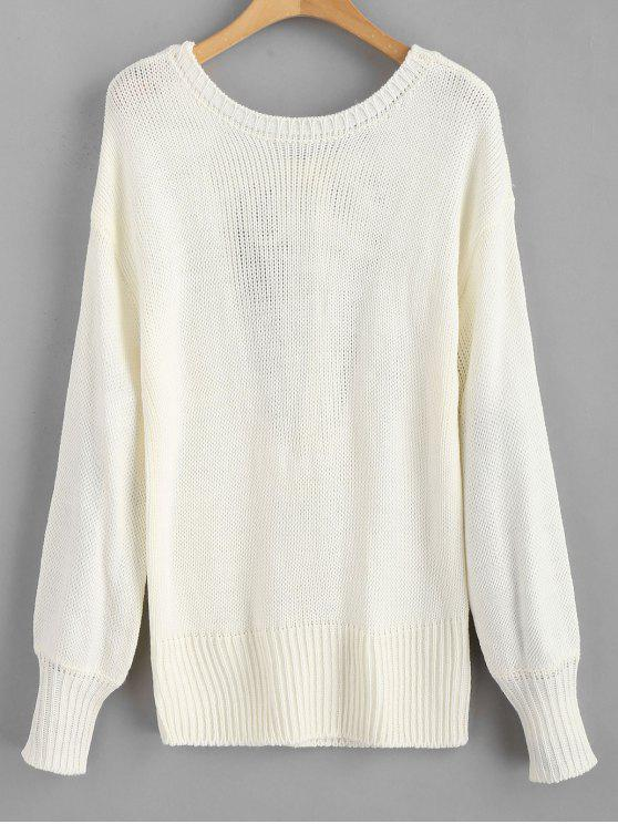 shop Open Back Knotted Sweater - WHITE L