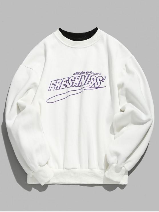 Sweat-shirt en molleton avec lettre brodée - Blanc L