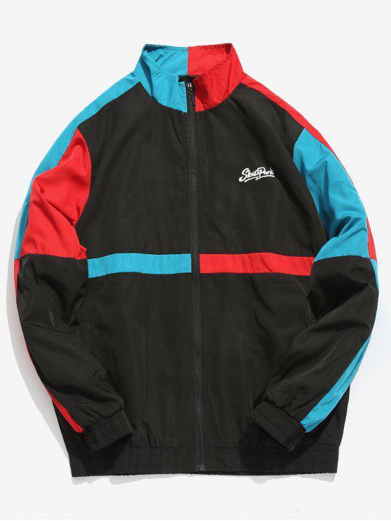 latest Color Block Patchwork Windbreaker Jacket - BLACK XL