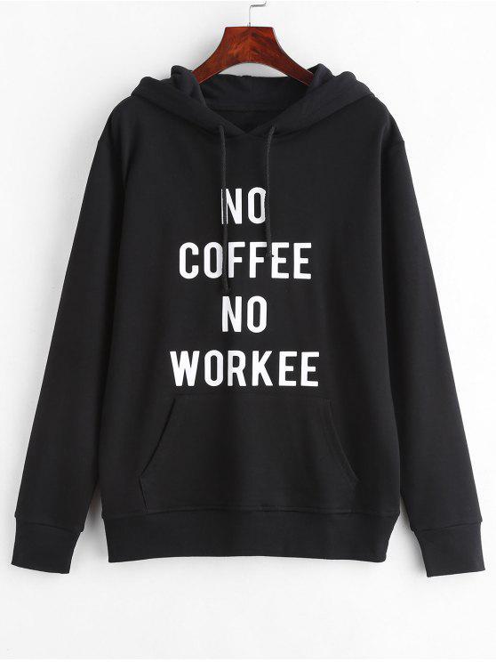 Sweat à capuche graphique slogan poche pullover - Noir M