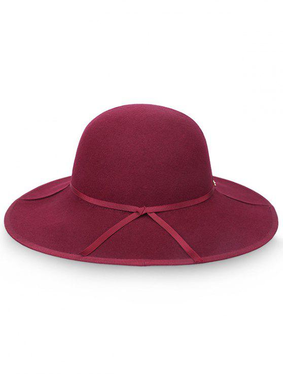 buy Oversized Brim Bowknot Wool Fedora Hat - RED WINE