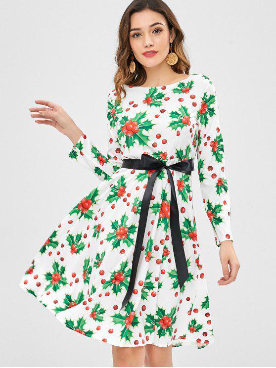 hot Christmas Berry Print Dress - WHITE XL