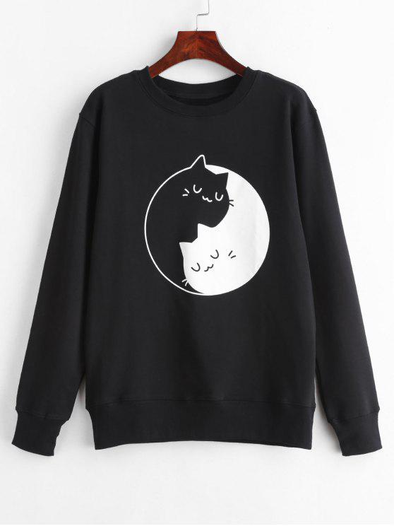 fashion Kitten Print Graphic Sweatshirt - BLACK XL