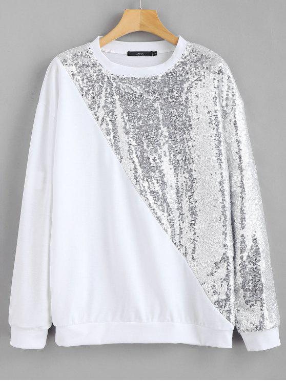 Sweat-shirt Pull-over à Paillettes - Blanc XS
