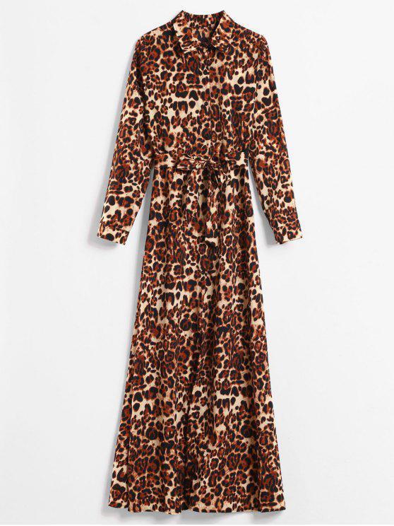 379e6da760b6 29% OFF] 2019 Long Sleeve Leopard Print Maxi Shirt Dress In LEOPARD ...