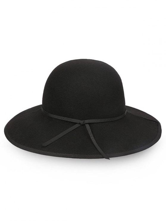 outfits Oversized Brim Bowknot Wool Fedora Hat - BLACK