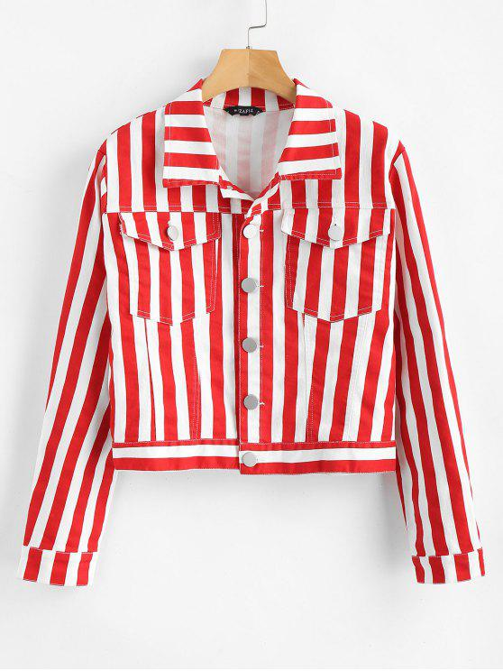 trendy ZAFUL Cropped Stripes Shirt Jacket - LAVA RED M