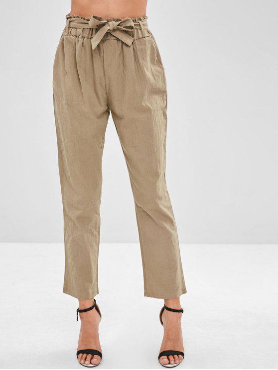latest High Rise Pencil Paperbag Waist Pants - LIGHT KHAKI L