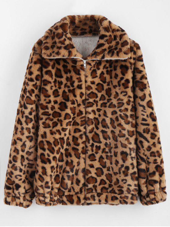 women Fluffy Cheetah Coat - LEOPARD L