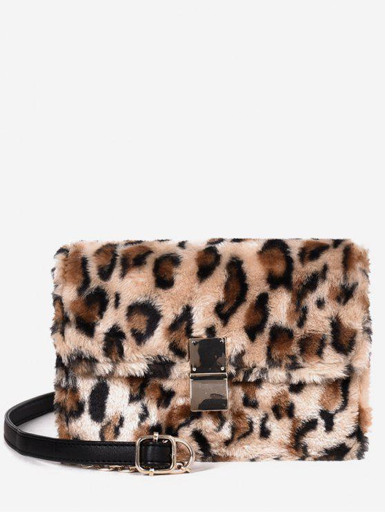 hot Faux Fluff Magnetic Snap Design Crossbody Bag - LEOPARD