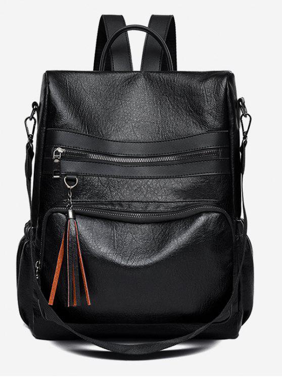 online PU Tassel Design Crossbody Backpack - BLACK
