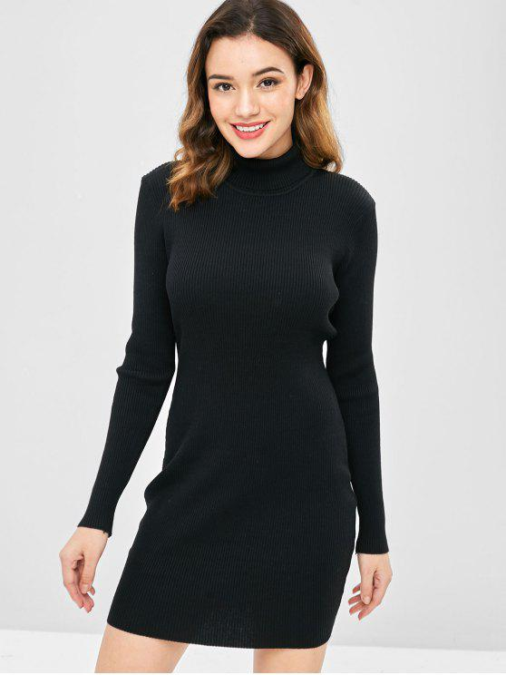 1f8b0df604 29% OFF  2019 High Neck Ribbed Mini Bodycon Sweater Dress In BLACK ...