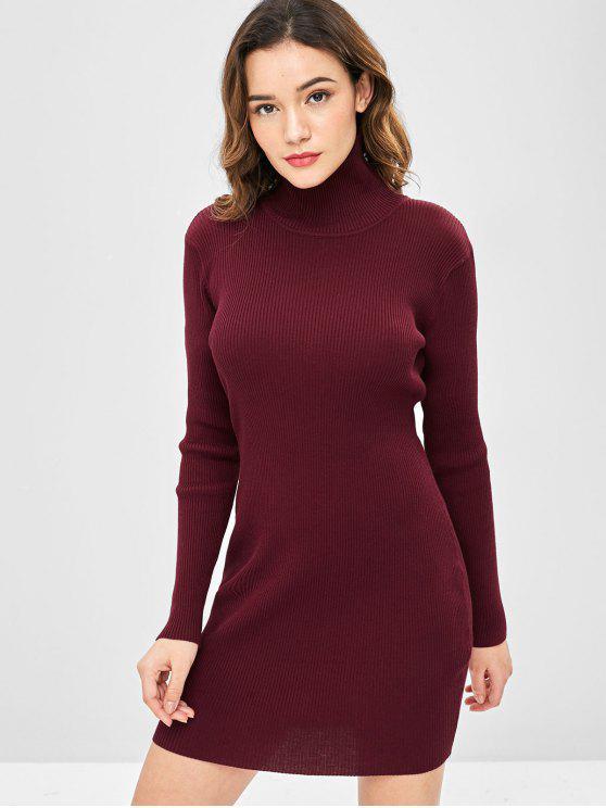 Cuello alto acanalado mini vestido de suéter ajustado - Vino Tinto Talla única