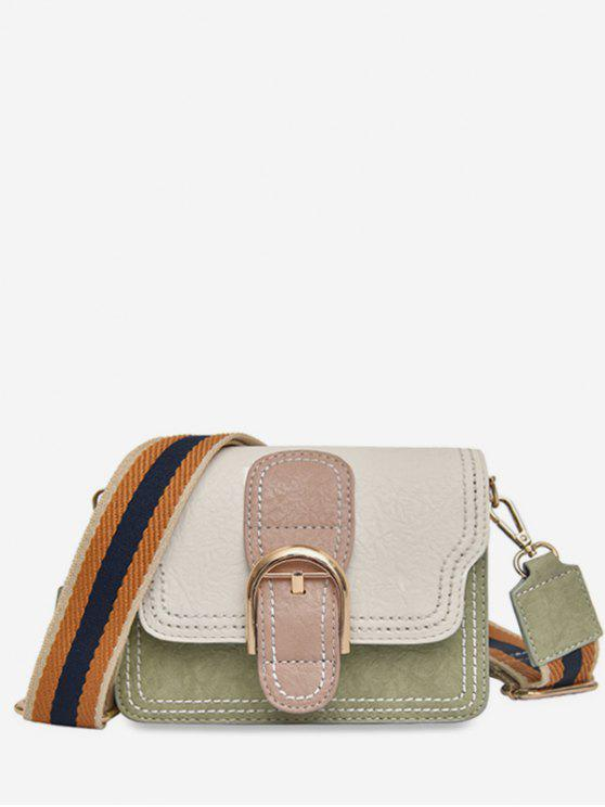 outfits Striped Shoulder Tape Design Cover Crossbody Bag - BEIGE