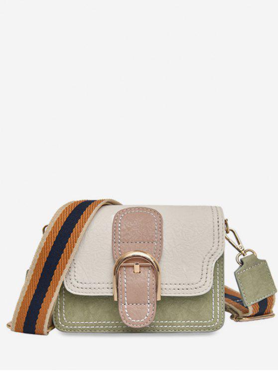 Bolsa de ombro com fita listrada - Bege