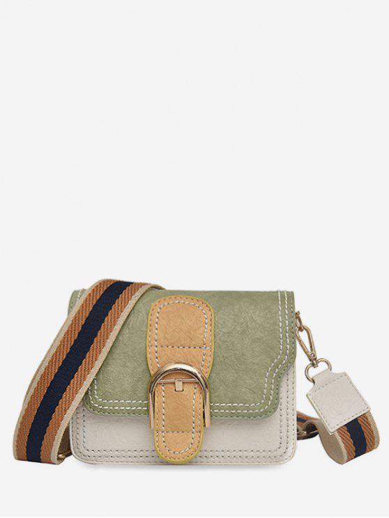 chic Striped Shoulder Tape Design Cover Crossbody Bag - SEA GREEN